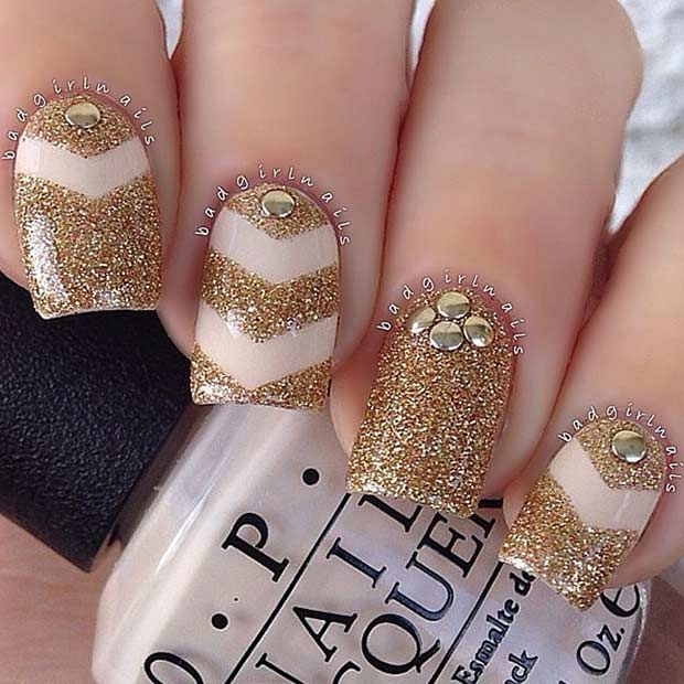 Nude and Gold Glitter Nail Art Design