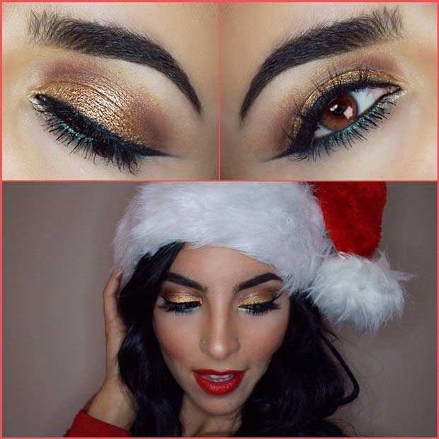 Festive Green and Gold Christmas Makeup Idea