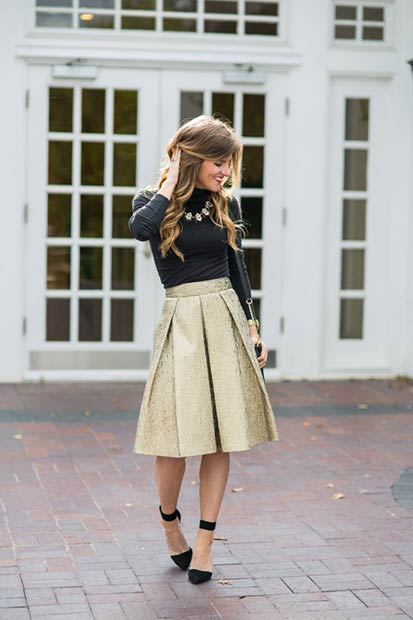 Gold Midi Skirt Christmas Outfit Idea