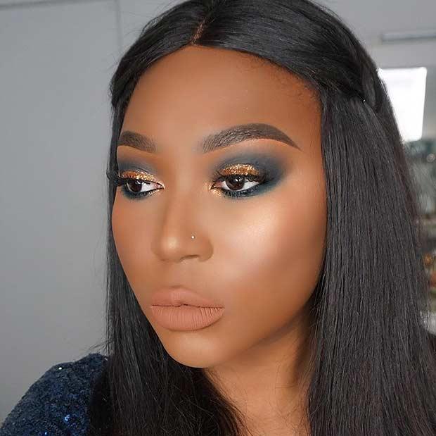 Black and Gold Smokey Eye for Black Women