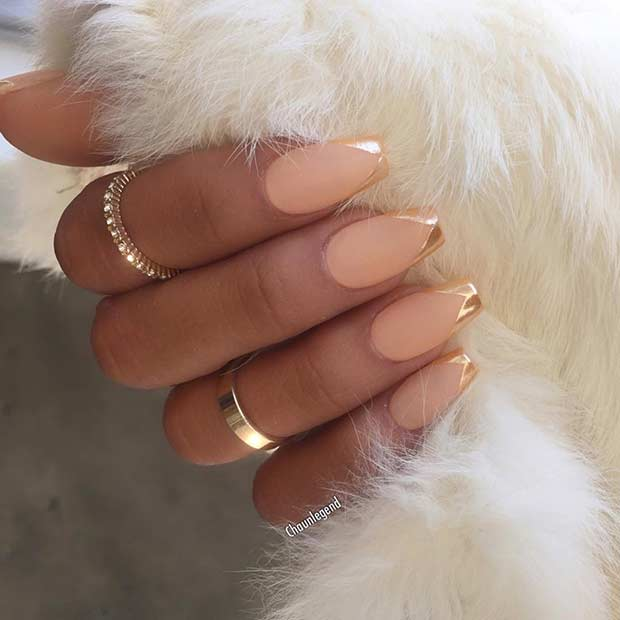 Matte and Gold Metallic French Tip Nail Design