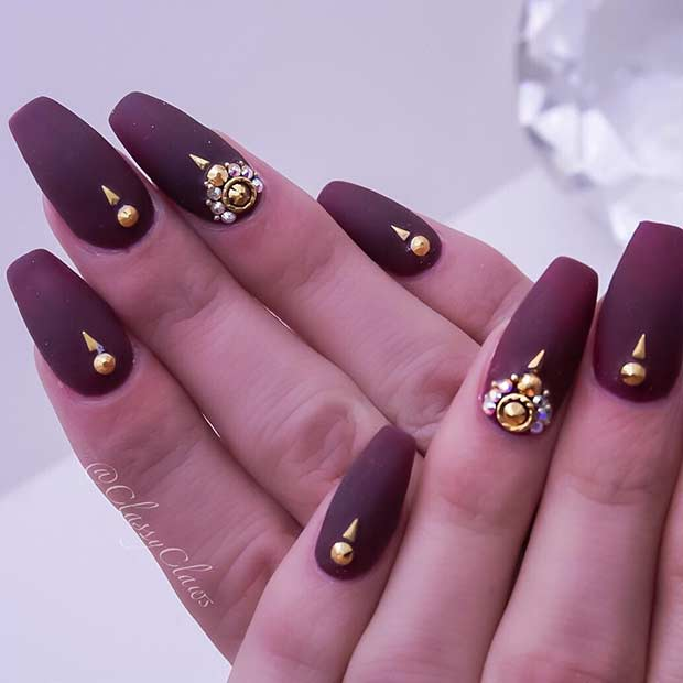 Matte Burgundy Coffin Nails with Gold Rhinestones