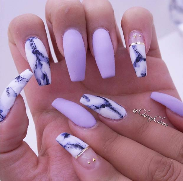 Matte Marble Nail Art Design for Long Nails - 25 Cool Matte Nail Designs To Copy In 2017 StayGlam