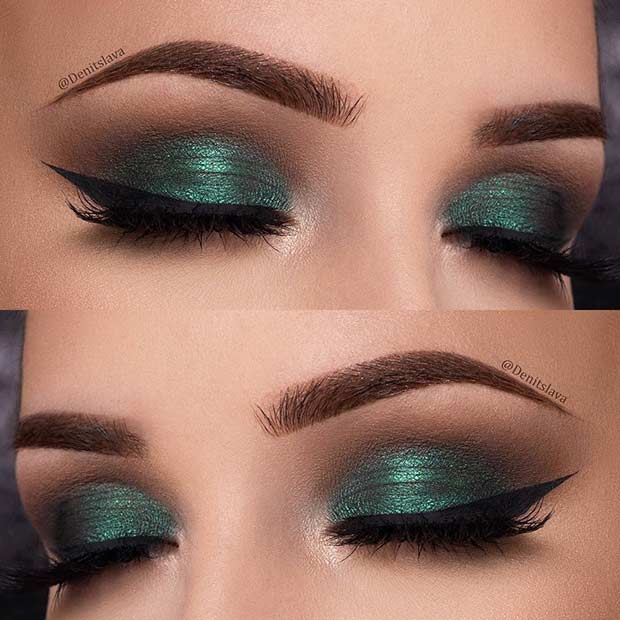Green Eye Makeup Idea for Christmas