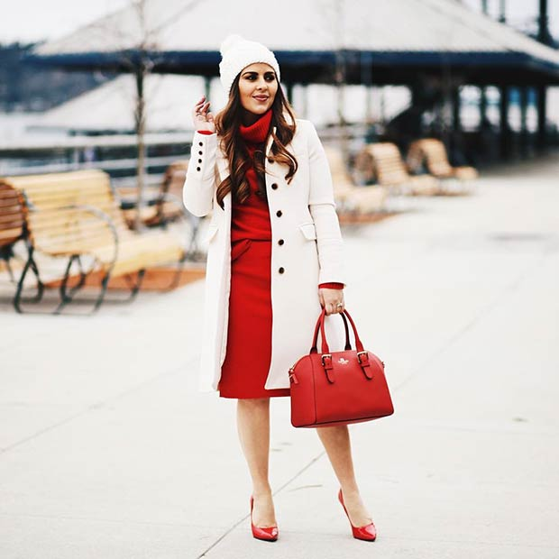 White and Red Christmas Outfit Idea