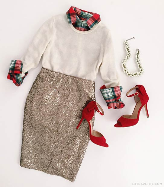 Stylish Christmas Outfit Sequin Skirt - 39 Cute Christmas Outfit Ideas StayGlam