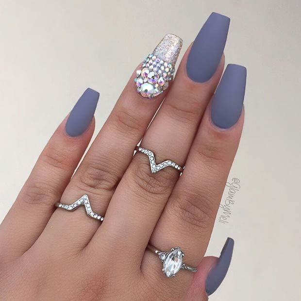 Matte Gray Coffin Nail Art Design - 25 Cool Matte Nail Designs To Copy In 2017 StayGlam