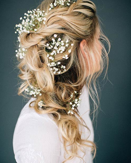 Messy to the Side Romantic Wedding Hairstyle
