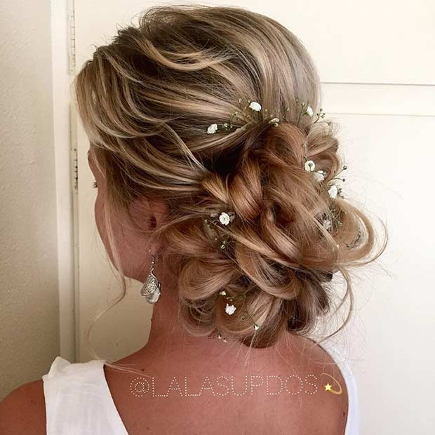 23 romantic wedding hairstyles for long hair stayglam romantic wedding updo junglespirit Images