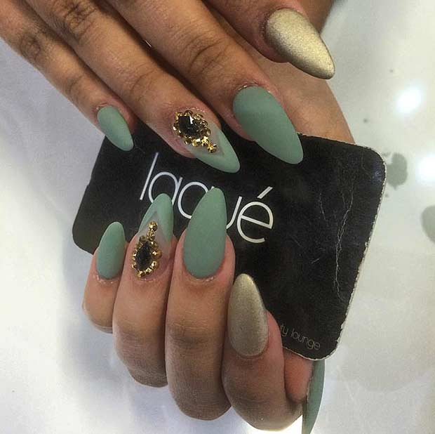 Matte Green and Gold Nail Design
