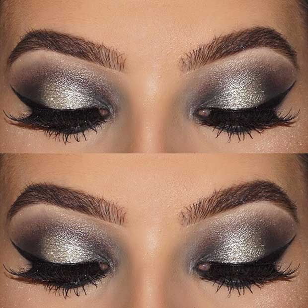 Grey and Silver Eye Makeup Idea for New Years Eve