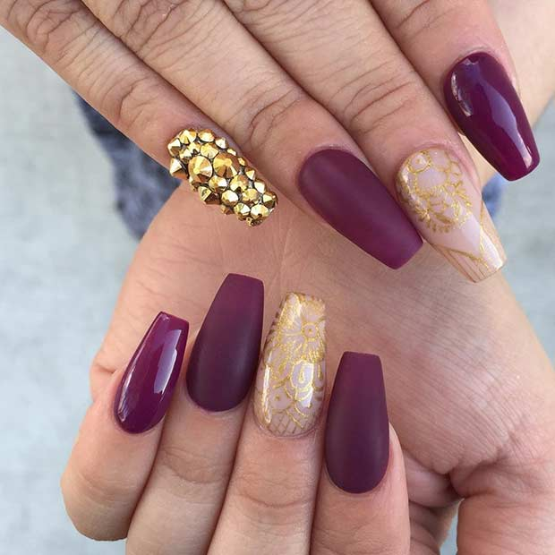 Burgundy and gold nail designs gallery nail art and nail design 31 snazzy new years eve nail designs page 2 of 3 stayglam matte burgundy and gold prinsesfo Choice Image