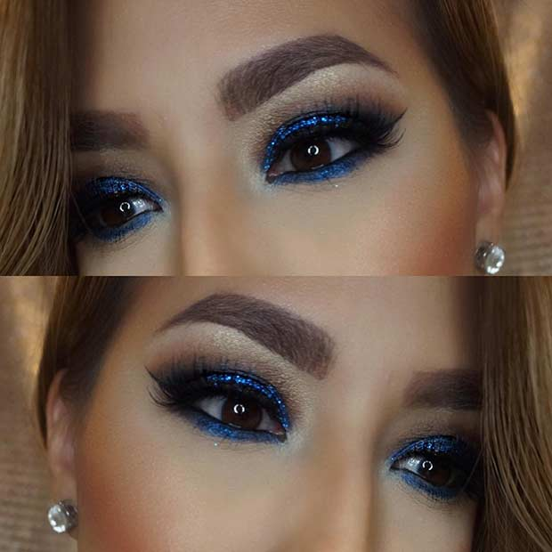 Navy Blue Smokey Eye for Brown Eyes
