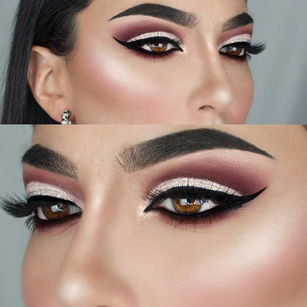 Elegant Burgundy Cut Crease Makeup Look
