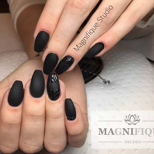 25 cool matte nail designs to copy in 2017 crazyforus edgy black nails prinsesfo Images
