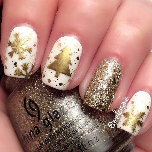 White and Gold Christmas Nails