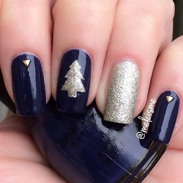 Blue and Gold Christmas Tree Nail Design