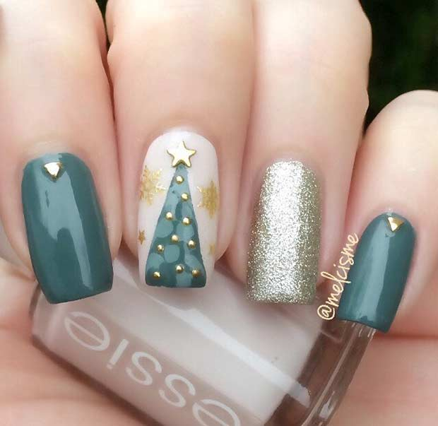 Gold and Green Christmas Tree Nail Design