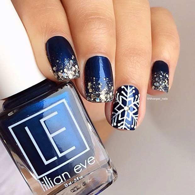 Blue and Silver Glitter Snowflake Winter Nails
