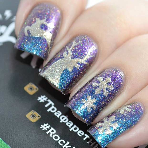 Sparkly Winter Deer Nail Art Design