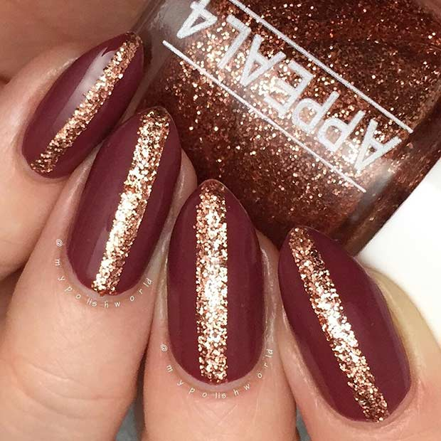31 snazzy new years eve nail designs stayglam matte burgundy and glitter new years eve nails prinsesfo Image collections