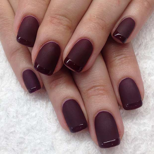 Matte and Glossy Burgundy French Tip Nail Design