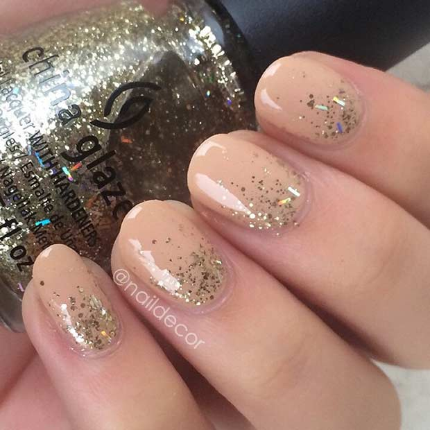 Neutral and Gold Glitter Ombre for Short Nails