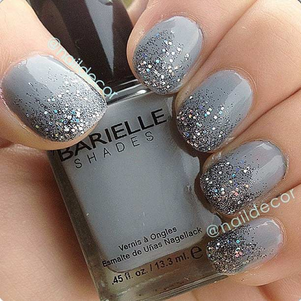 Gray Glitter Ombre Nail Design for Short Nails - 31 Snazzy New Year's Eve Nail Designs Page 2 Of 3 StayGlam
