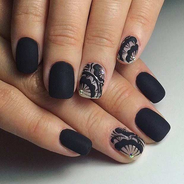 Matte Black Nail Design for Short Nails - 25 Cool Matte Nail Designs To Copy In 2017 StayGlam