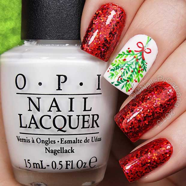 Red Mistletoe Christmas Nail Art Design