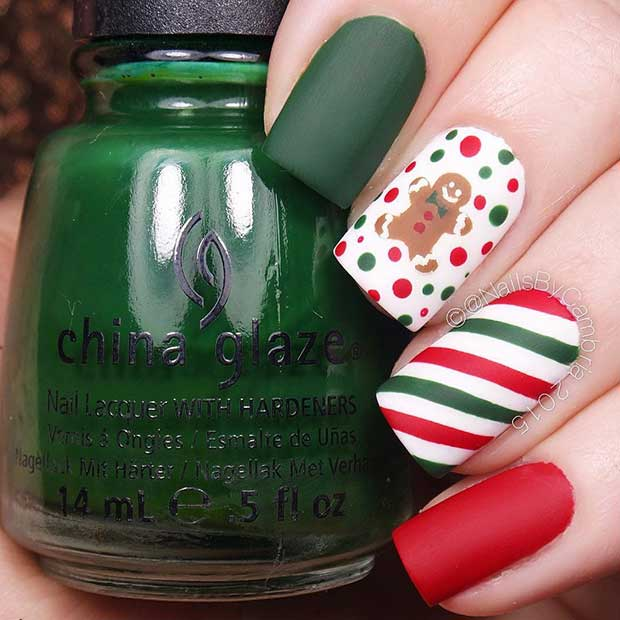 Christmas Matte Gingerbread Nail Design