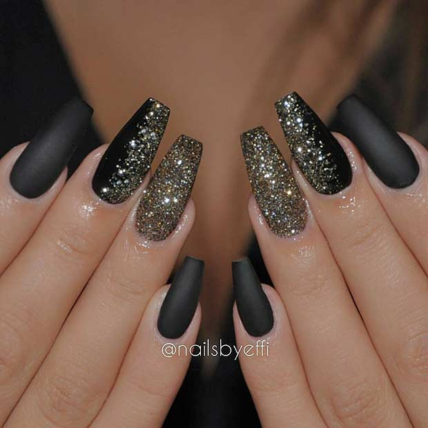 Matte Black Glitter Coffin Nails