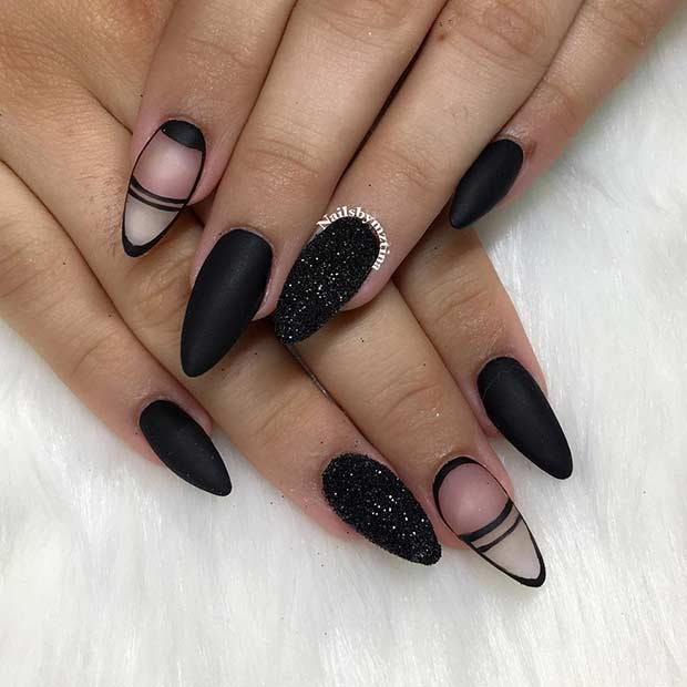 Matte Black and Negative Space Nail Design