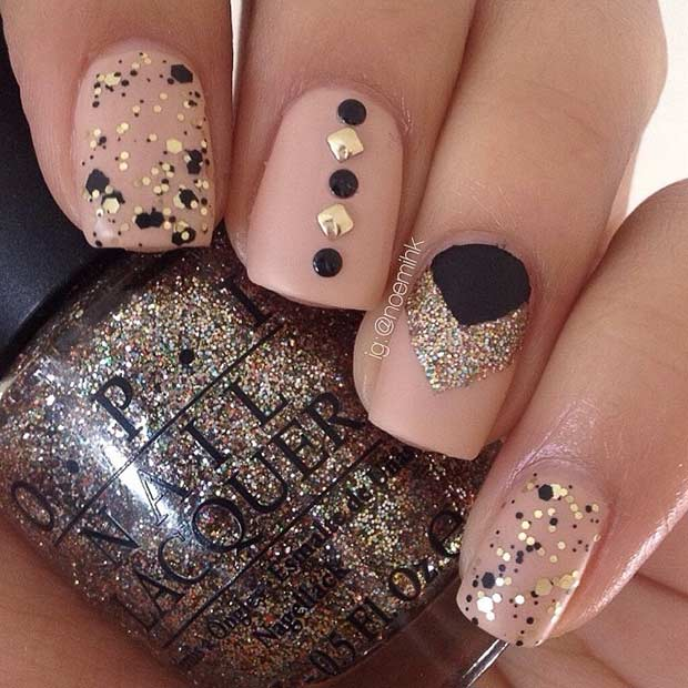 Matte Neutral Gold and Black Nail Design