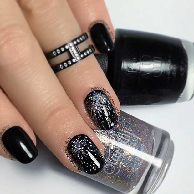 Black and Silver Glitter Firework Nail Design