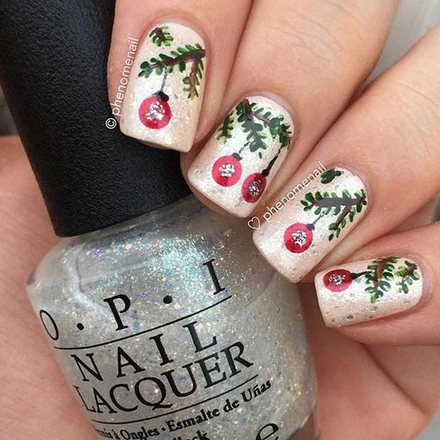 Christmas Baubles Nails