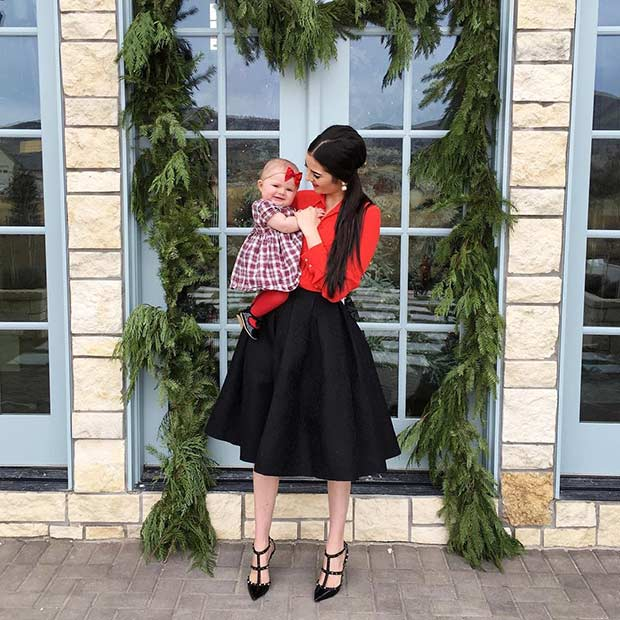Black Midi Skirt Red Shirt Christmas Outfit Idea - 39 Cute Christmas Outfit Ideas StayGlam