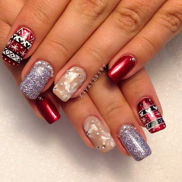 Festive Christmas Nail Design for Long Nails