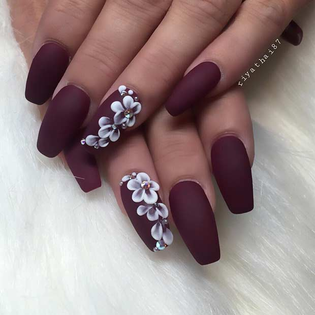 Matte Burgundy Coffin Nail Design for Fall