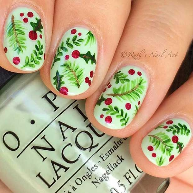 Holly Nail Art Design for Short Nails