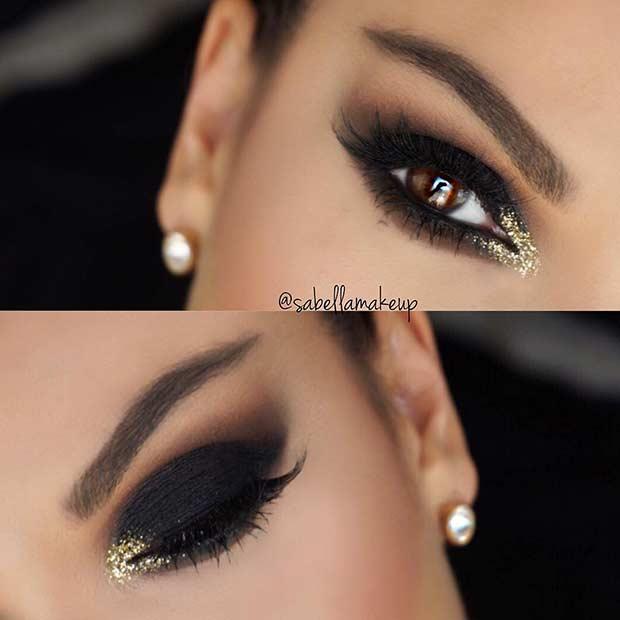 Dramatic Black Smokey Eye Makeup Look