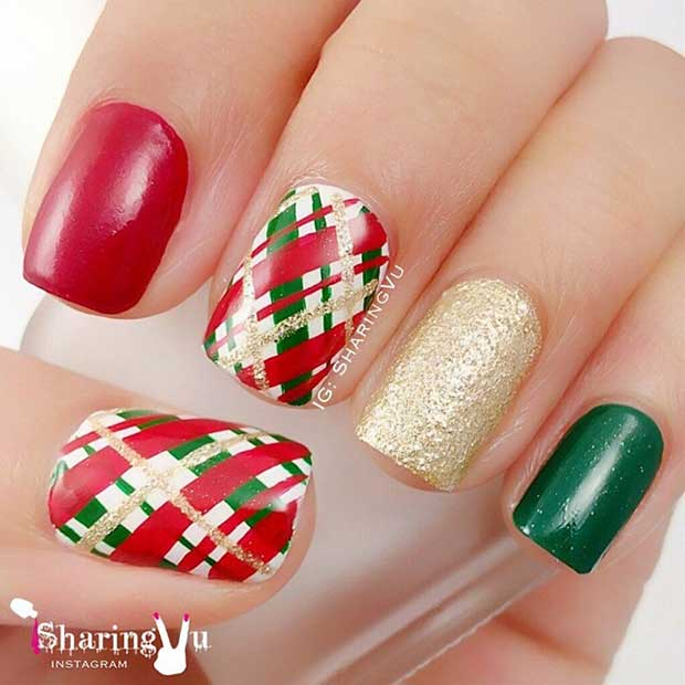Green Gold and Green Tartan Nails