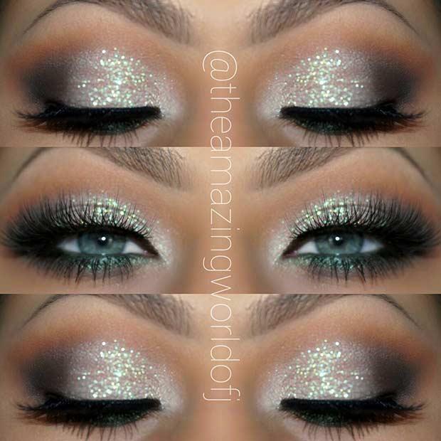 Glitter Eye Makeup Idea for Blue Eyes