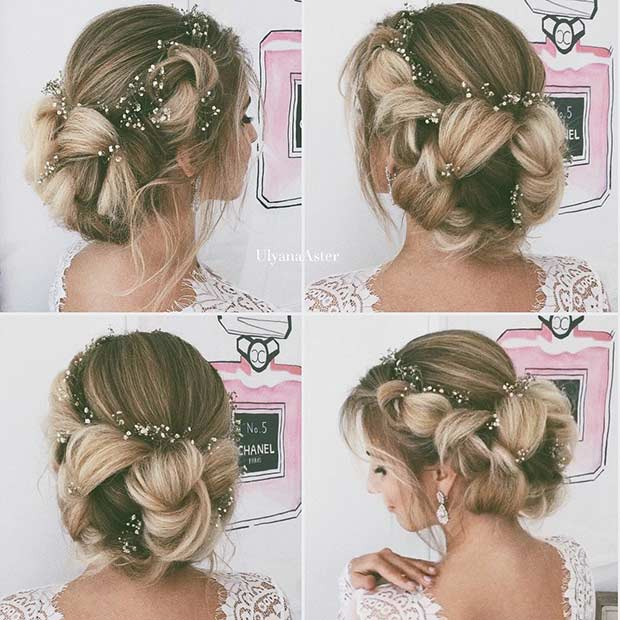 Romantic Braided Bun Wedding Hairstyle