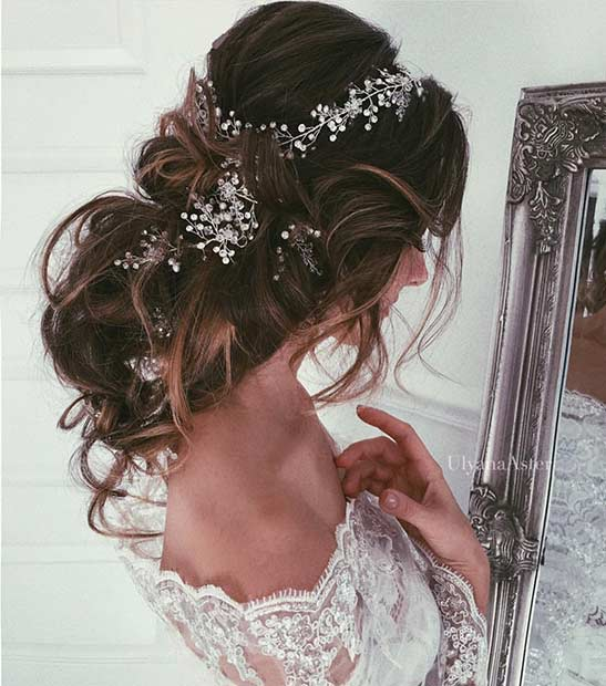 Messy and Romantic Wedding Updo with a Hairpiece