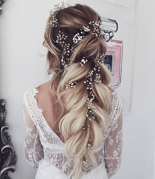 23 romantic wedding hairstyles for long hair stayglam messy braided wedding half updo with flowers junglespirit Images