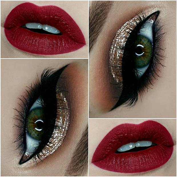 Gold Glitter Eyes Red Lips Christmas Makeup