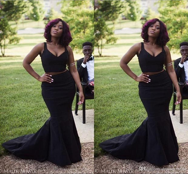 Black Mermaid Two Piece Prom Dress for Plus Size Girls