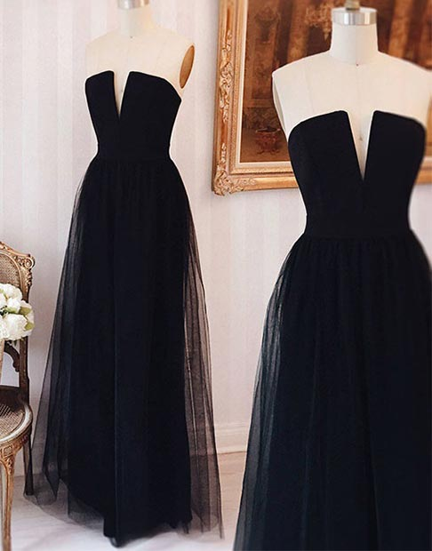 Long Black Tulle Prom Dress