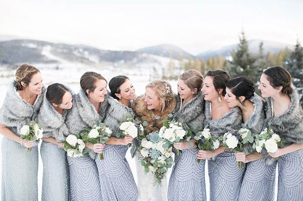 Gray Bridesmaid Winter Dresses and Faux Fur Wraps